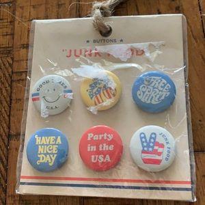 3/$10 NEW set 6 junk food USA buttons
